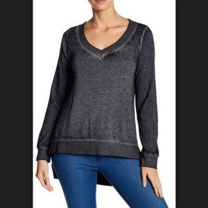 Abound Grey Step Hem V-Neck Pullover Sweater
